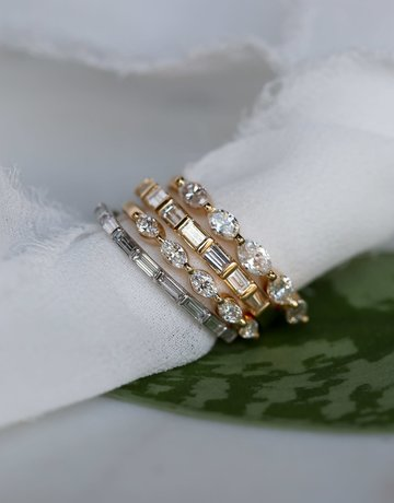 American Jewelry 14k Yellow Gold .58ctw Baguette Diamond East-to-West Stackable Wedding Band (Size 6.5)
