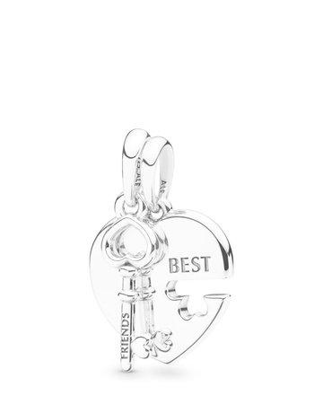 Pandora PANDORA Pendant, Best Friends Heart & Key