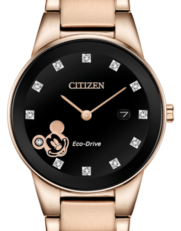 Citizen Citizen Eco-Drive Disney Mickey Mouse Ladies Rose Tone Watch with Black Dial & Diamonds