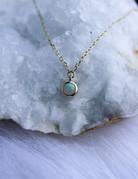 "American Jewelry 14k Yellow Gold 3mm Opal Cabochon Micro Bezel Dangle Necklace (18"")"