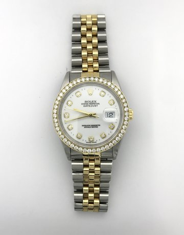 American Jewelry Rolex 18k Yellow Gold/Stainless Steel Datejust, White Dial with Diamond Markers, 1ct Diamond Bezel & Jubilee Band (Pre-Owned)
