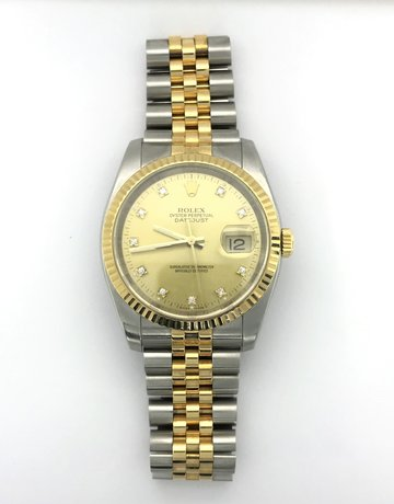 American Jewelry Rolex 18k Yellow Gold/Stainless Datejust Champagne Diamond Dial, Fluted Bezel & Jubilee Band (Pre-Owned)
