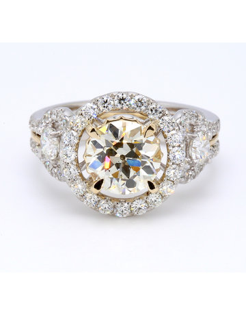 American Jewelry 14k White & Yellow Gold 3.17ctw (2.08ct N/VS2 GIA Old European Cut Center) Diamond Halo Engagement Ring (Size 7)
