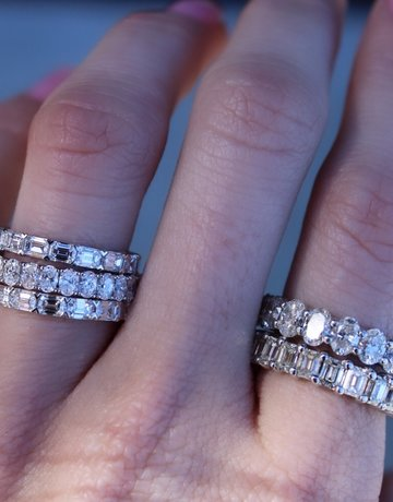 American Jewelry 14k White Gold 2.13ctw Oval Diamond Stackable Eternity Band (Size 6.5)
