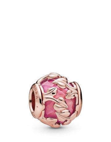 Pandora PANDORA Rose Charm, Decorative Leaves, Pink Synthetic Sapphire