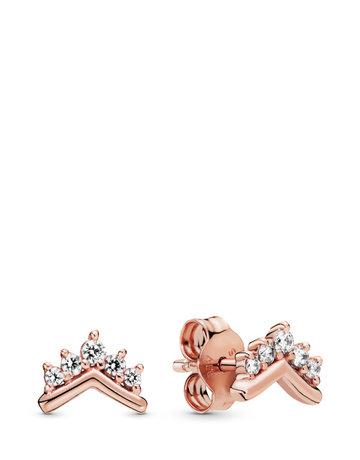 Pandora PANDORA Rose Stud Earrings, Tiara Wishbone, Clear CZ