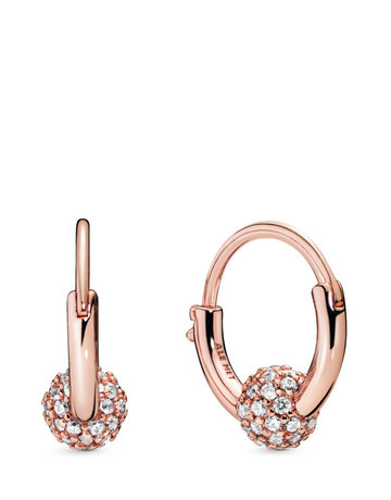 Pandora PANDORA Rose Hoop Earrings, Pave' Bead, Clear CZ