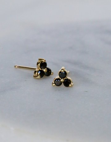 American Jewelry 14k Yellow Gold 0.18ctw Black Diamond Trio Stud Earrings