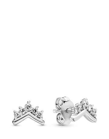Pandora PANDORA Stud Earrings, Tiara Wishbone, Clear CZ