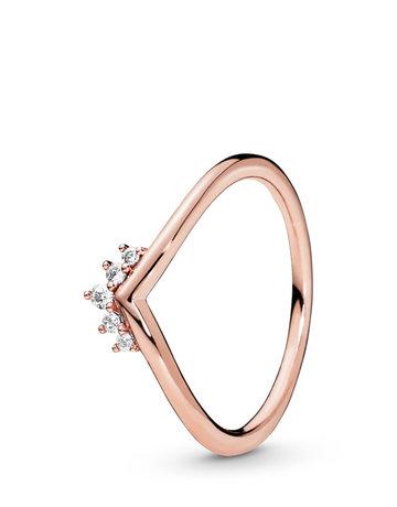 Pandora PANDORA Rose Ring, Tiara Wishbone, Clear CZ - Size 56