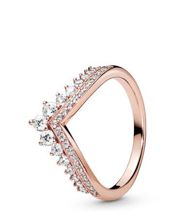 Pandora PANDORA Rose Ring, Princess Wishbone, Clear CZ - Size 52