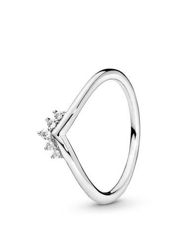 Pandora PANDORA Ring, Tiara Wishbone, Clear CZ - Size 54