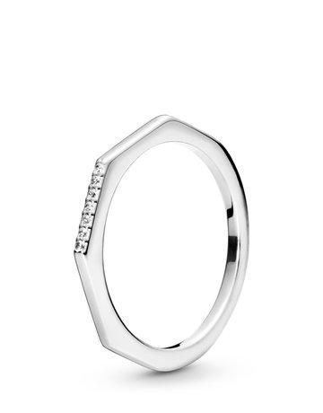 Pandora PANDORA Ring, Multifaceted, Clear CZ -  Size 54