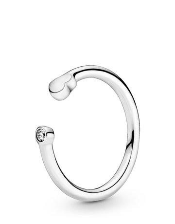 Pandora PANDORA Ring, Open Polished Heart, Clear CZ - Size 52