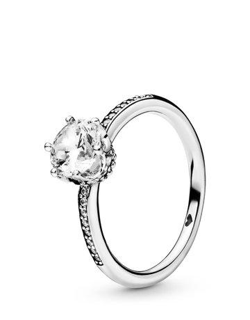 Pandora PANDORA Ring, Clear Sparkling Crown, Clear CZ - Size 54