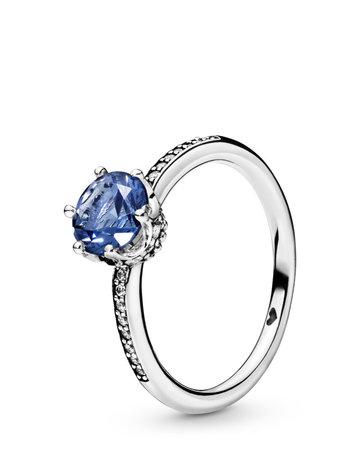 Pandora PANDORA Ring, Blue Sparkling Crown, Blue Crystal & Clear CZ - Size 50