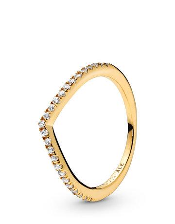 Pandora PANDORA Shine Ring, Sparkling Wishbone, Clear CZ - Size 52