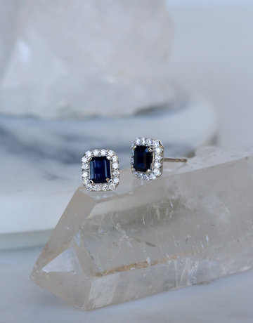 14k White Gold .94ct Sapphire .29ct Diamond Halo Stud Earrings