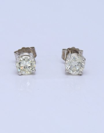 American Jewelry 14k White Gold 1/2ctw Round Brilliant Diamond 4-Prong Stud Earrings