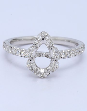 American Jewelry 14k White Gold 0.31ctw Diamonds Pear Halo 8x5 Semi Mount Engagement Ring (Size 6)