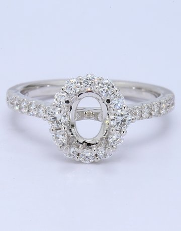 American Jewelry 14k White Gold 0.57ctw Diamond Oval Halo 7x5 Semi Mount Engagement Ring (Size 6)