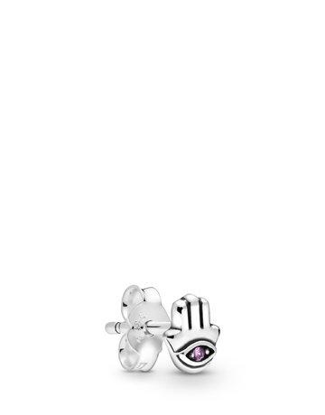 Pandora PANDORA Me Single Stud Earring, My Hamsa Hand, Purple Crystal