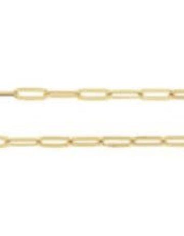 "American Jewelry 14k Yellow Gold 3.85mm Elongated Flat Link Chain (18"")"