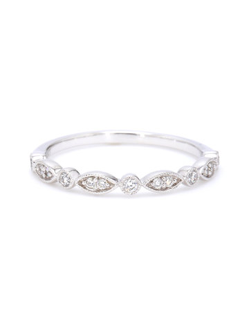 American Jewelry 14k White Gold .18ctw Round and Marquise Shape Milgrain Stackable Band (Size 7)