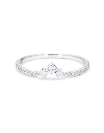 American Jewelry 14k White Gold .25ctw Diamond Trio Point Contour Band (Size 7)
