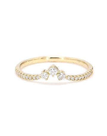 American Jewelry 14k Yellow Gold .25ctw Diamond Trio Point Contour Band (Size 7)