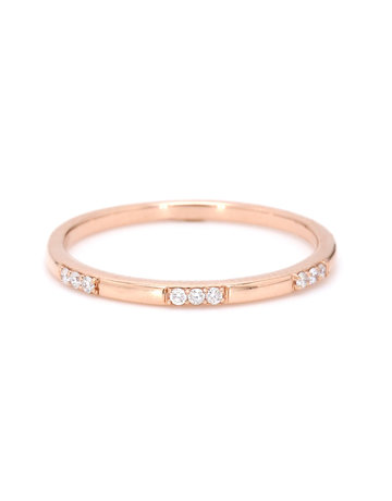 American Jewelry 14k Rose Gold .08ctw Round Brilliant Diamond Stackable Ladies Wedding Band (Size 7)