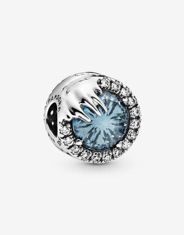 Pandora PANDORA Charm Disney, Frozen Winter Crystal, Sky Blue Crystal & Clear CZ