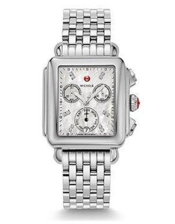 Michele Michele Signature Deco Non-Diamond, Diamond Dial & 18mm Deco 7-Link Stainless Steel Bracelet Watch