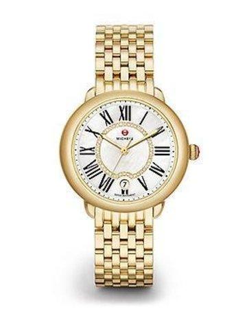 Michele Michele Serein 16 Gold, Diamond Dial & 16mm Serein 16 Gold 7-Link Bracelet Watch