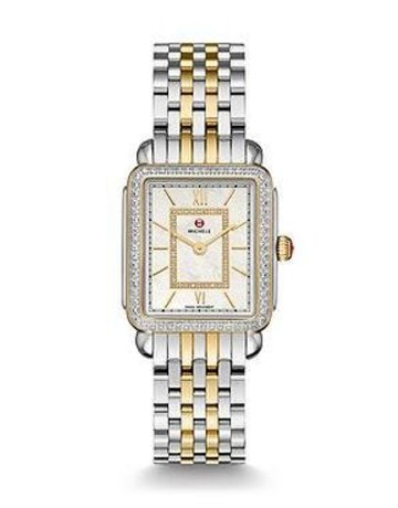 Michele Michele Deco II Mid-size Diamond Two-tone, Diamond Dial & 16mm Deco II 7-Link Mid-Size Two- Tone Bracelet Watch