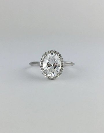 American Jewelry 18k White Gold .15ct Diamond Halo Oval Semi Mount (9x7 CZ Ctr) Engagement Ring