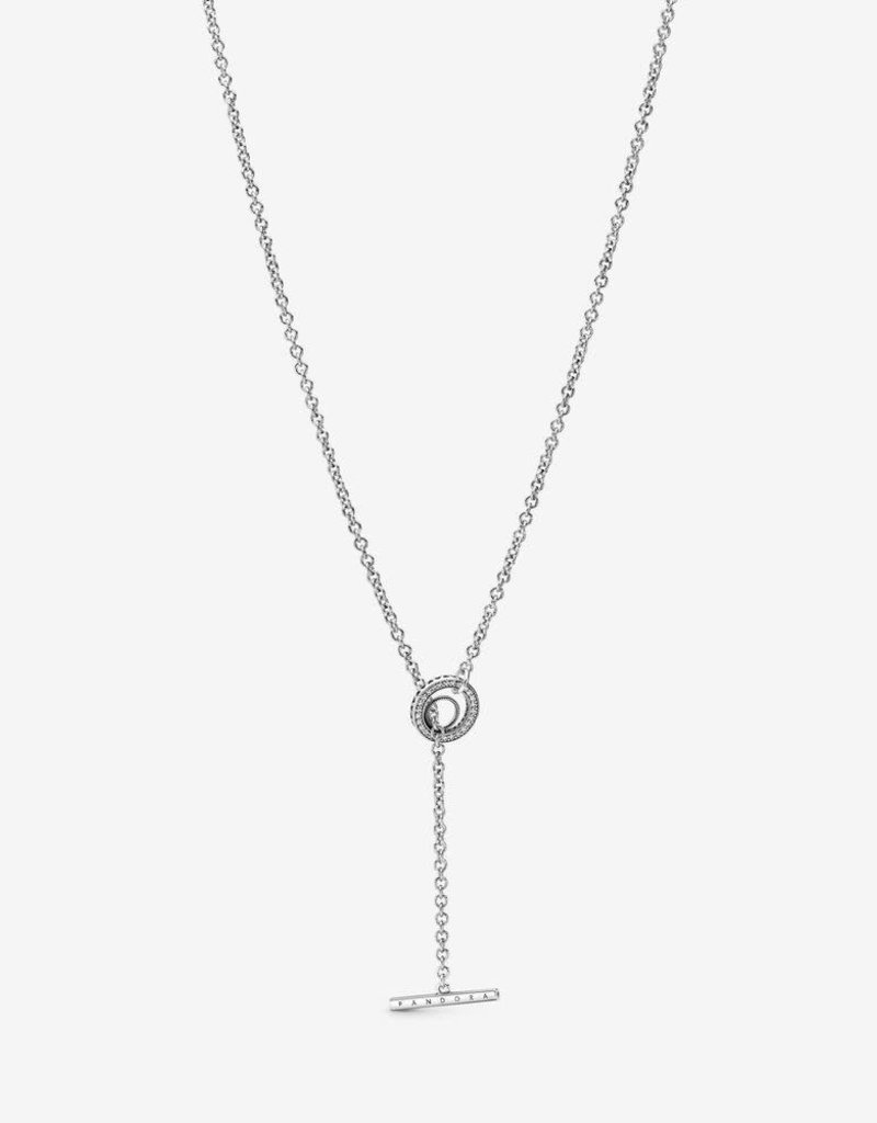 Pandora Necklace Pave Circle Logo T Bar Heart Clear Cz 31 5 In American Jewelry