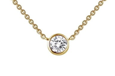 Lafonn 0.46cttw 1 Stones Bezel Set Gold Solitaire Necklace 18""