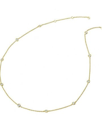 Lafonn Lafonn 1.1cttw 20 Stones Gold Station Adjustable Necklace 18-20""