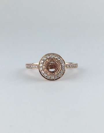 American Jewelry 14k Rose Gold .32ctw Diamond Halo Semi Mount Engagement Ring
