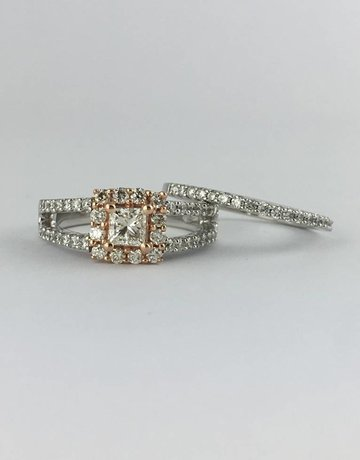American Jewelry 14k Two-Tone Rose & White Gold 1ctw (1/3ct Princess Center) Halo Engagement Ring Set
