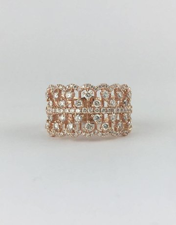American Jewelry 14k Rose Gold 1.10ctw Diamond (G/VS) Open Lace Band Ring (size 7)