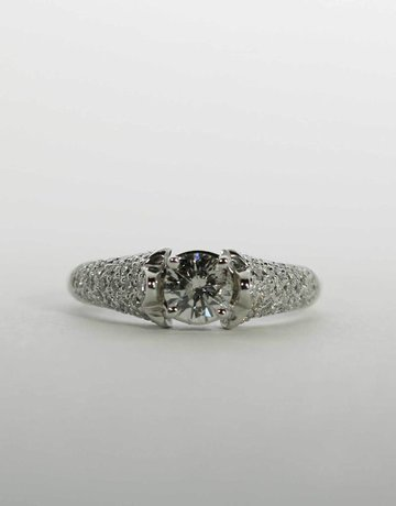 American Jewelry 18k White Gold .49ct-Ctr .93ctw Round Brilliant Diamond Pave Engagement Ring (Size 6)