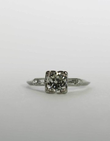 American Jewelry Platinum 1ct-Ctr 1.2ctw Vintage Engagement Ring with European Cut Center & Baguette & Single Cut Accents (Size 6)