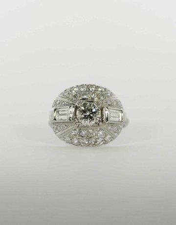 American Jewelry Platinum 2-5/8ctw Diamond Engagement Ring, 1.02ct Round Brilliant Center, 5/8ctw Baguettes, 1ctw Round Brilliants (Size 8)