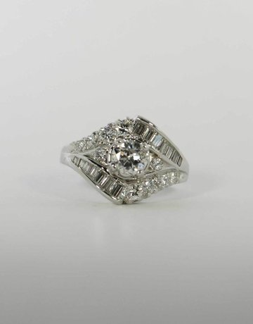American Jewelry Platinum .64ct-Ctr 1.64ctw Engagement Ring with Transitional Cut Center Diamond & Round & Baguette Accent Diamonds (Size 6)