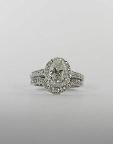 American Jewelry 14k White Gold 1.34ct-Ctr (F-G/I1) 1.89ctw Oval & Round Brilliant Diamond Halo Milgrain Engagement Wedding Set (Size 6.5)