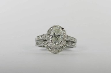 14KW 1.34CT-OV (I1/F-G)1.89CTW HALO ENGAGEMENT WEDDING SET WITH OVAL CENTER & .55CTW ROUND BRILLIANTS