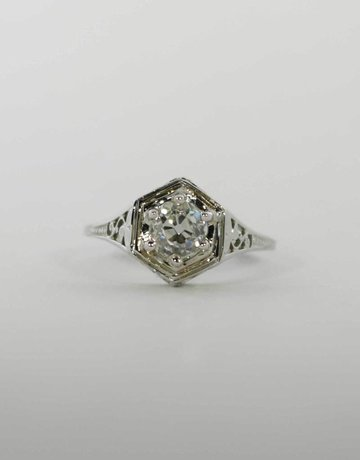 American Jewelry 18k White Gold .72ct (K/VS2) Old Mine Cut Diamond Vintage Filigree Solitaire Engagement Ring (Size 5)