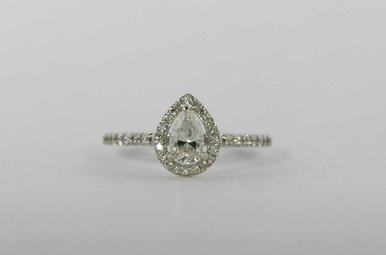 14KW .45CT-CTR 3/4CTW HALO ENGAGEMENT RING WITH PEAR CENTER & .30CTW ROUND BRILLIANTS